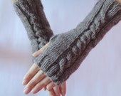 Instant Download Knitting Pattern.Long Classic Mittens with Braid. Fingerless Gloves.