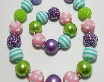 Chunky Bubblegum Necklace, Girls Necklace, Girls Bracelet,  Necklace, Easter, Spring