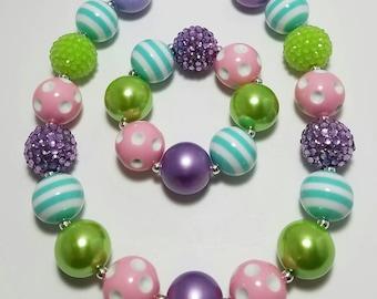 Chunky Bubblegum Necklace, Girls Necklace, Girls Bracelet,  Necklace, Easter, Spring
