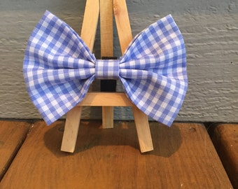 blue gingham, dog bow tie