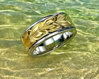 Sterling Silver Hawaiian 14K Yellow Two Toned Maile 8mm Ring Band (R564)