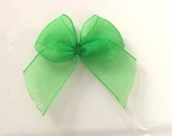 10, green organza bows, green ribbon bows, green bows, christmas supplies, organza ribbon bows, 12mm ribbon bows, cardmaking supplies uk