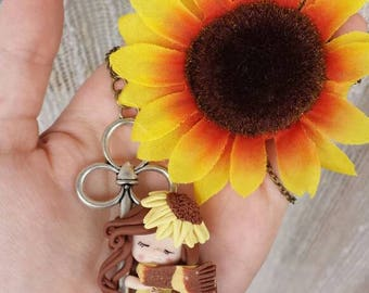 Necklace in fimo polymer clay doll baby key/key sunflower on sunflower necklace