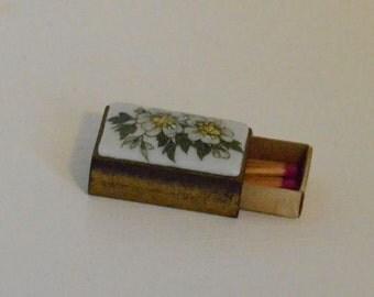 Limoges Matchbox Holder Porcelain Metal Vintage Match Safes Collectible French