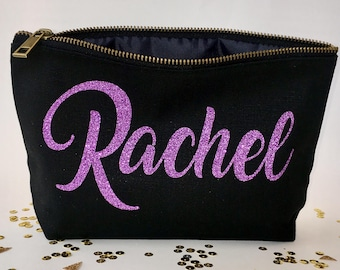 Personalized Wedding Makeup bag - Wedding favors  -  cosmetic bag- zipper pouches - Birthday gift- makeup bag - Canvas bags