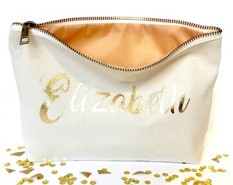 Makeup bag personalized bridesmaid pouch - bridesmaid favors  -  cosmetic bag - zipper pouches - Birthday gift- makeup bag - Canvas bags-