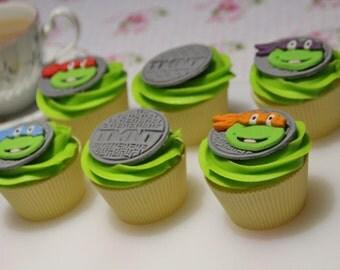 Teenage mutant ninja turtles fondant cupcake toppers TMNT