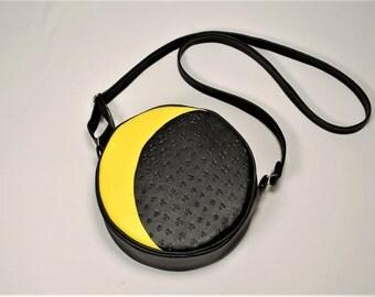 Handmade crossbody bag moon and stars in black