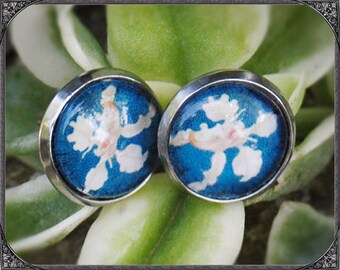 Stainless steel earstuds Blue Orchid