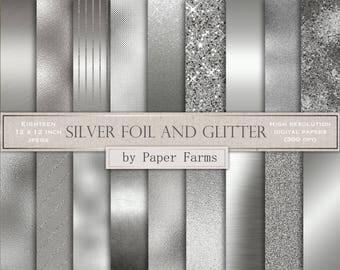 Silver digital paper, silver foil digital paper, silver, scrapbook paper, digital paper, wedding, foil, glitter digital paper, DOWNLOAD