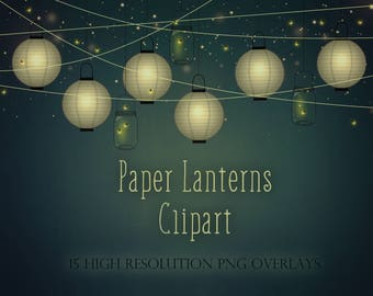 Paper lanterns clipart, lanterns clipart, paper lantern overlays, paper lights, digital lights, vintage lanterns, vintage lights, DOWNLOAD