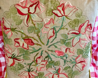 "Vintage Embroidered Linen Throw Pillow, Roses Expertly Done, Large 18""x18"""