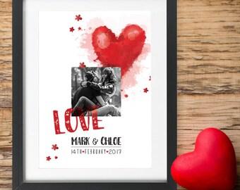 Personalisierte Valentinstag Geschenk Drucken Foto Herz Im Inneren Herzen  Name Datum Rot Liebe Geschenke Für Sie