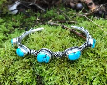 Five Stone Turquoise Cuff Bracelet