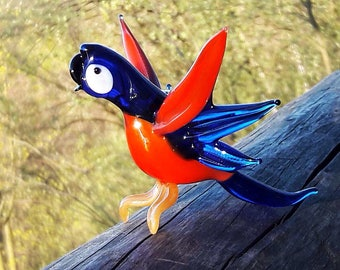 Glass parrot figurines dollhouse design unique figurines spun glass animal parrot paperweight miniature glass statue menagerie bird toys