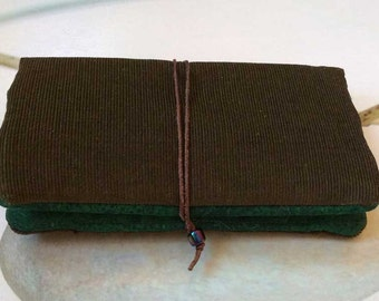 Tobacco pouch 'Moss-green and copper orange' size M/L