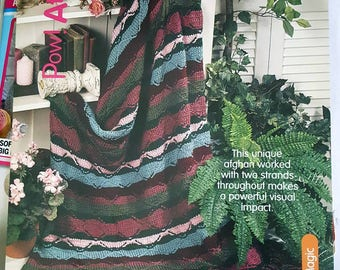 2000 House of White Birches Pow! Striped Afghan Knitting Pattern Leaflet