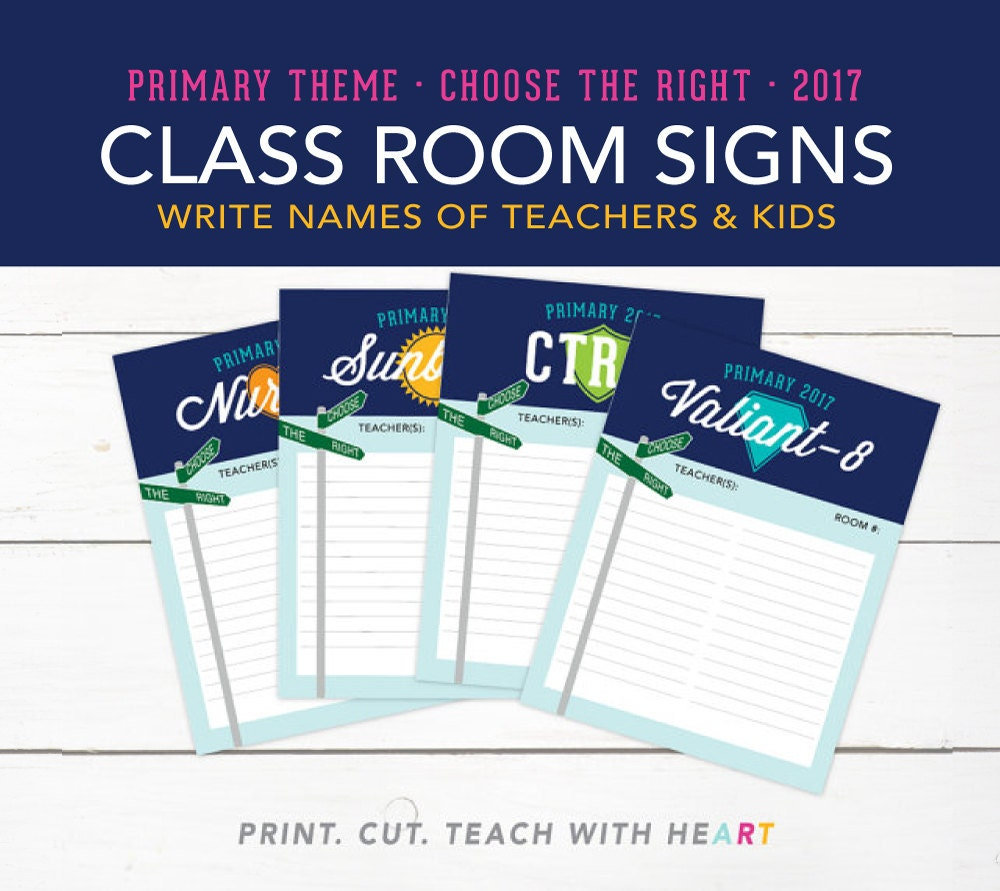 Lds 2017 primary theme choose the right class room signs for Idea door primary sharing time