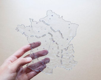 Plastic card of the (cities + rivers) France * french VINTAGE * Plastic map of France (cities + rivers)