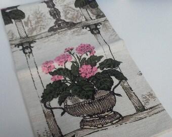 Vintage Linen Kitchen Towel- Window Pane Design Linen Towel- Free U.S. Shipping