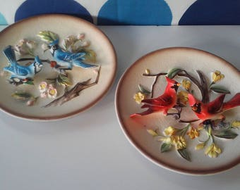 Vintage Napcoware Bird Plates- 3-D Cardinal and Bluejay Plates
