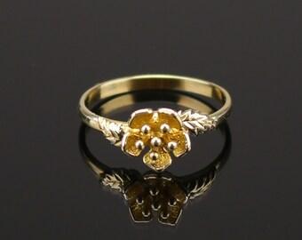 Bronze    flower ring, nature ring, branch ring, hippie ring, gypsy ring, , twig ring,  Bronze Ring, Flower and Leaf, Nature , Folk Art,
