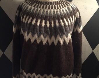 Paul James wool sweater, brown zig zag sweater, vintage wool sweater, wool sweater
