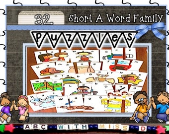 Educational Word Family Puzzles- Classroom and Homeschool Teaching- Learn to Read-Learn to Spell-First Grade, Kindergarten, PreK-PDF file