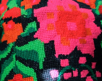 Beautiful Vintage Embroidered Floral Pillow/ Bright Colorful Bohemian Style