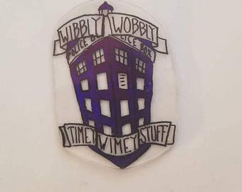 Wibbly Wobbly Timey Wimey Tardis Magnets, Pins, and Necklaces