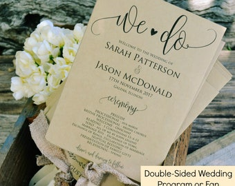 Printable Wedding Program Template, We Do Rustic Ceremony Program, Instant Download, Editable PDF, 5x7