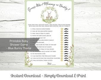 Printable Baby Shower Game, Guess Who Said - Mommy or Daddy?, Instant Download, Gender Neutral Bunny Theme, WLP 262