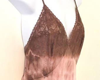 Ethereal Dusty Pink Twist Dyed Vintage Slip Maxi Dress ~ Size SMALL ~ AU 8 - 10 US 6 - 8 ~  Wedding Evening Gown Bohemian Festival