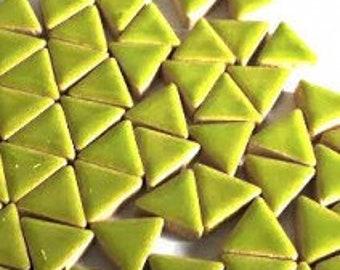 Triangle Ceramic Mosaic Tiles - Kiwi - 50g