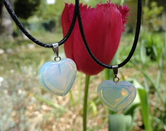 lot 2 necklaces hearts of opaline, for 2 sisters, mother and daughter, best friends