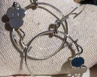 Cute little mouse hoop earrings