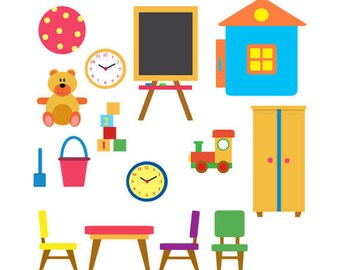 Set of Kindergarten Clip Art Set, Playgroup, Toys, Chairs, Table, Cupboard, Ball, Illustration, PNG
