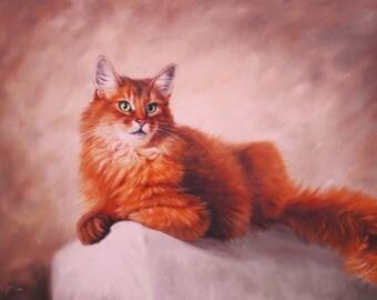 Cat painting, Redhead cat, Cat original art, Cat oil art, Original oil painting