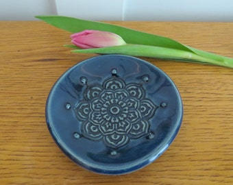 Blue Porcelain Stamped Ring Dish Jewelry Dish