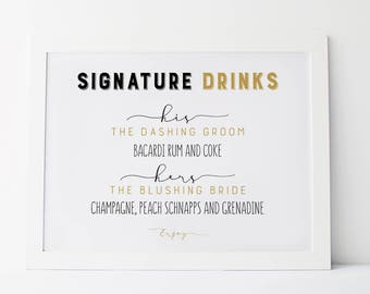 Signature Drinks, Custom Wedding Signs, Signature Drink Sign, Wedding Signage, Bar Signage, Wedding Bar Sign, Personalized Wedding Sign