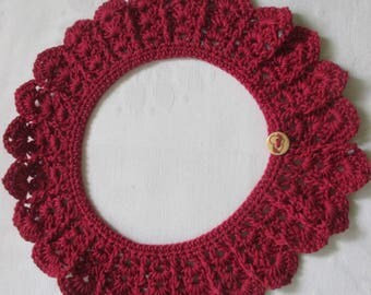 Crochet collar lace Peter Pan collar red brown cotton crocheted selfmade