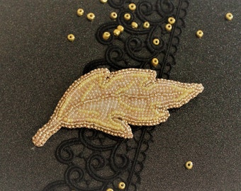 Handmade beaded brooch Golden leaf