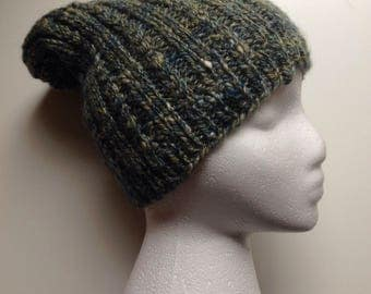 Knit hat/Slouchy hat/hand knit slouchy hat/hand spun yarn/merino wool tussah silk blend yarn/winter hat