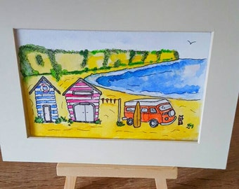 British seaside campervans and beach huts orginal watercolour