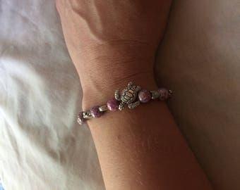 Silver sea turtle bracelet, purple sea turtle bracelet, purple luster bracelet, purple bracelet