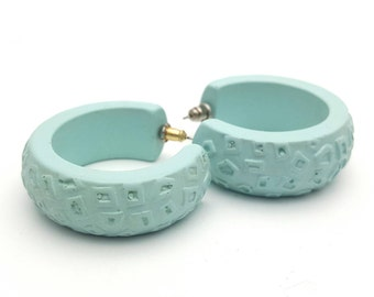 Modern Turquoise Hoop Earrings from the 90s Vintage Textured Primitive Shapes Thick Loops Round Lightweight Plastic Summer Ocean Aqua Color
