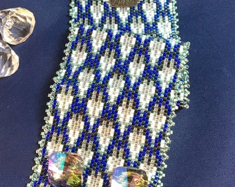 "Handmade Peyote Bracelet - Beaded Cuff Bracelet - ""Jennifer"""