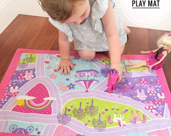 Fairytale Play Mat, Kids Play Mat, Foldup Play Mat, Travel Toy, Car Playmat
