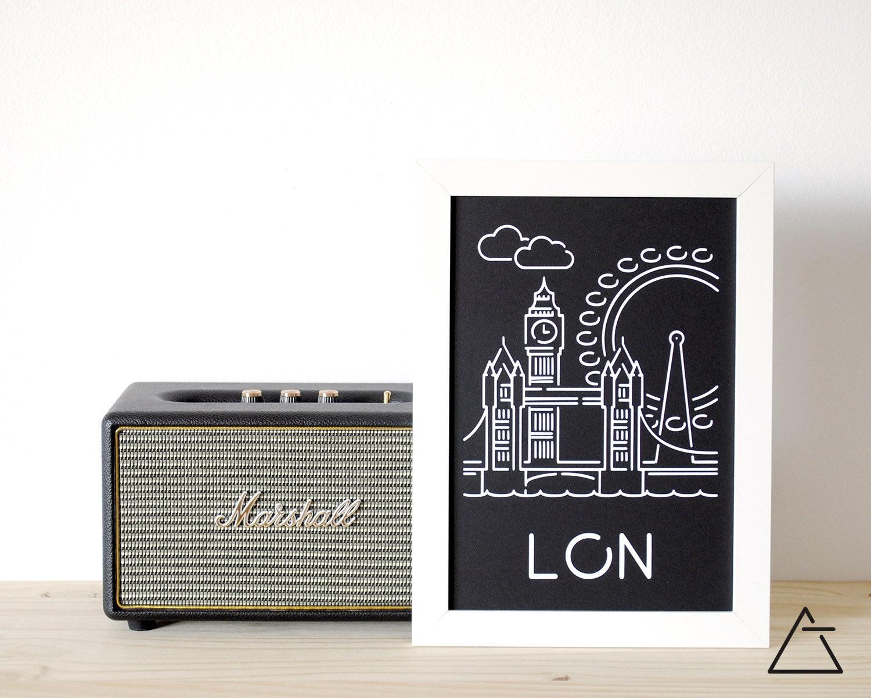 Londres city a4 papercut art minimal art noir et blanc for Art minimal livre