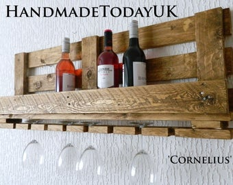 Handmade Rustic Industrial Wine Rack with Glass Holder Recycled Pallet